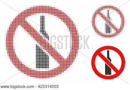 Forbidden Alcohol Halftone Dotted Icon. Halftone Pattern Contains Round Elements. Vector Illustratio