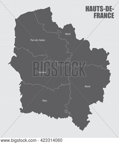 Hauts-de-france Administrative Map Divided In Departments With Labels, France