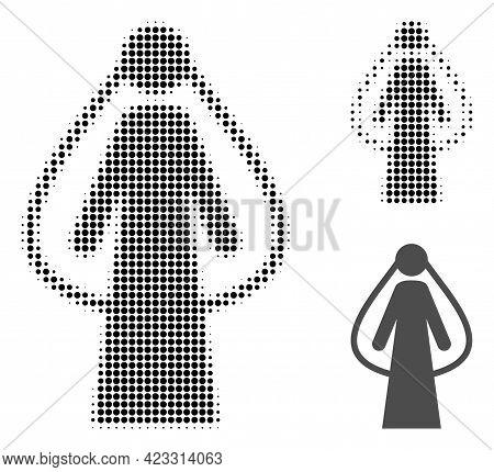 Bride Halftone Dotted Icon. Halftone Array Contains Circle Dots. Vector Illustration Of Bride Icon O