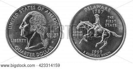 Obverse And Reverse Of 1999 Quarter Dollar Cupronickel Us Coin Isolated On White Background