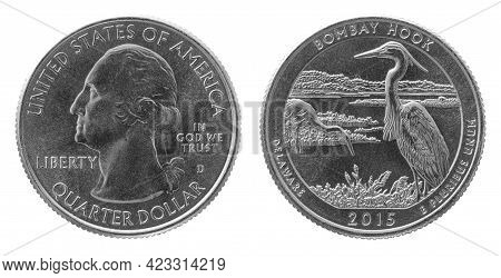 Obverse And Reverse Of 2015 Quarter Dollar Cupronickel Us Coin Isolated On White Background