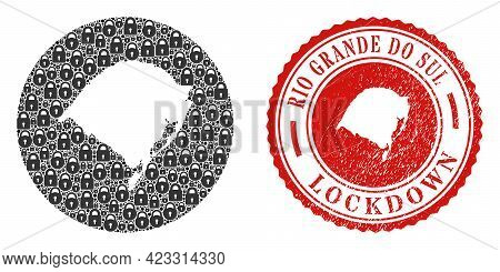 Vector Collage Rio Grande Do Sul State Map Of Locks And Grunge Lockdown Seal Stamp. Mosaic Geographi