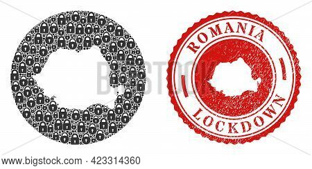 Vector Mosaic Romania Map Of Locks And Grunge Lockdown Stamp. Mosaic Geographic Romania Map Designed