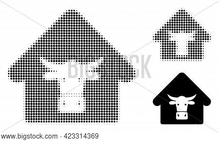 Cow Farm Halftone Dotted Icon. Halftone Pattern Contains Circle Points. Vector Illustration Of Cow F