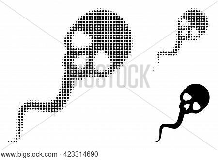 Dead Sperm Halftone Dotted Icon. Halftone Array Contains Circle Pixels. Vector Illustration Of Dead