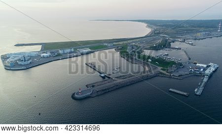 Aerial View Of Fort Grand Duke Constantine In Kronstadt, Observation Deck And Yacht Club, Gulf Of Fi