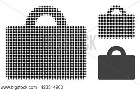 Baggage Halftone Dotted Icon. Halftone Array Contains Circle Dots. Vector Illustration Of Baggage Ic
