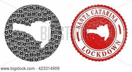 Vector Mosaic Santa Catarina State Map Of Locks And Grunge Lockdown Seal Stamp. Mosaic Geographic Sa