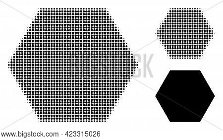 Filled Hexagon Halftone Dotted Icon. Halftone Pattern Contains Round Pixels. Vector Illustration Of