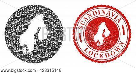Vector Mosaic Scandinavia Map Of Locks And Grunge Lockdown Seal Stamp. Mosaic Geographic Scandinavia