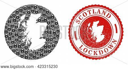 Vector Mosaic Scotland Map Of Locks And Grunge Lockdown Stamp. Mosaic Geographic Scotland Map Constr