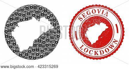 Vector Mosaic Segovia Province Map Of Locks And Grunge Lockdown Stamp. Mosaic Geographic Segovia Pro