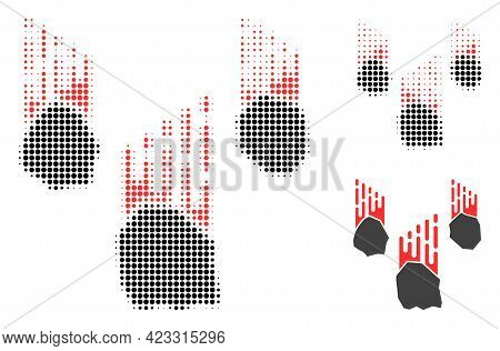 Falling Rocks Halftone Dotted Icon. Halftone Pattern Contains Circle Points. Vector Illustration Of
