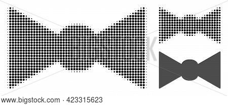 Bow Tie Halftone Dotted Icon. Halftone Pattern Contains Round Pixels. Vector Illustration Of Bow Tie