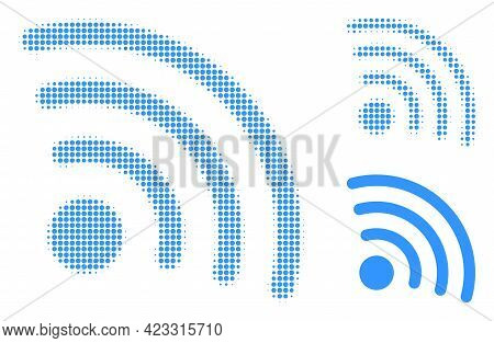 Internet Source Halftone Dotted Icon. Halftone Pattern Contains Circle Elements. Vector Illustration