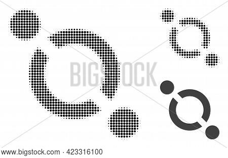 Link Halftone Dotted Icon. Halftone Array Contains Round Elements. Vector Illustration Of Link Icon