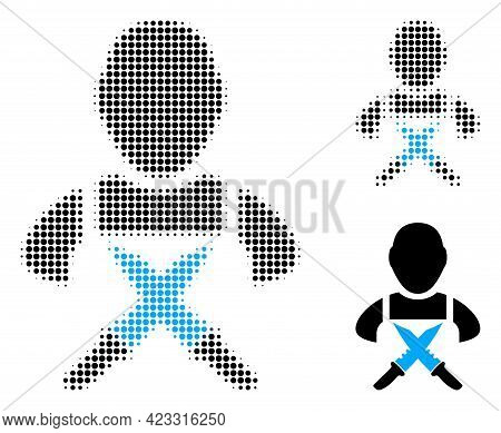 Butchery Worker Halftone Dotted Icon. Halftone Pattern Contains Round Elements. Vector Illustration