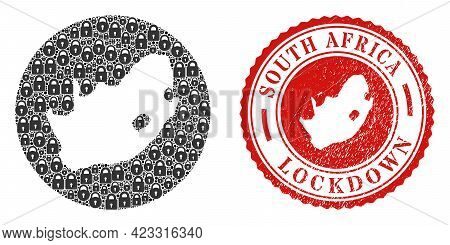 Vector Mosaic South African Republic Map Of Locks And Grunge Lockdown Seal. Mosaic Geographic South
