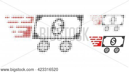 Dollar Delivery Wagon Halftone Dotted Icon. Halftone Array Contains Round Dots. Vector Illustration
