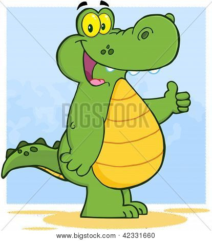 Happy Alligator Or Crocodile Showing Thumbs Up poster