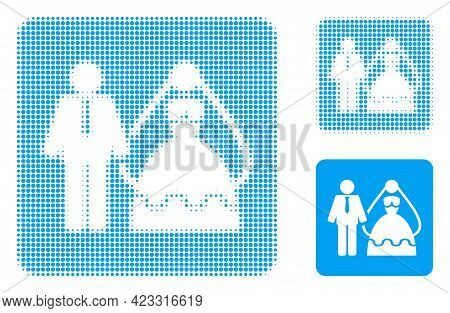 Bride And Groom Halftone Dotted Icon. Halftone Array Contains Circle Points. Vector Illustration Of