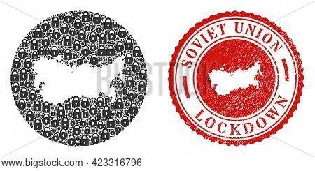 Vector Mosaic Soviet Union Map Of Locks And Grunge Lockdown Stamp. Mosaic Geographic Soviet Union Ma