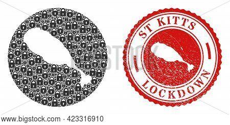 Vector Mosaic St Kitts Island Map Of Locks And Grunge Lockdown Seal Stamp. Mosaic Geographic St Kitt