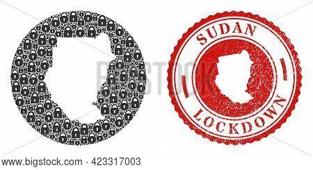 Vector Mosaic Sudan Map Of Locks And Grunge Lockdown Seal Stamp. Mosaic Geographic Sudan Map Constru