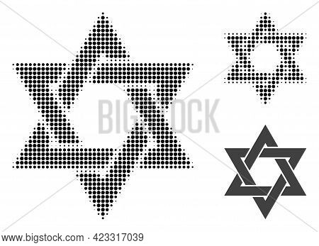 David Star Halftone Dotted Icon. Halftone Pattern Contains Round Pixels. Vector Illustration Of Davi