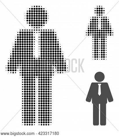 Groom Halftone Dotted Icon. Halftone Pattern Contains Round Pixels. Vector Illustration Of Groom Ico