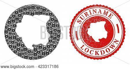 Vector Mosaic Suriname Map Of Locks And Grunge Lockdown Seal Stamp. Mosaic Geographic Suriname Map D