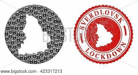 Vector Mosaic Sverdlovsk Region Map Of Locks And Grunge Lockdown Stamp. Mosaic Geographic Sverdlovsk