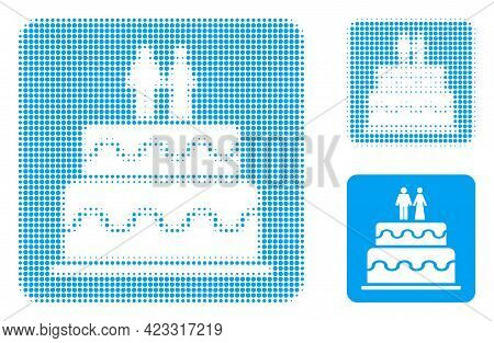Marriage Cake Halftone Dotted Icon. Halftone Pattern Contains Round Dots. Vector Illustration Of Mar