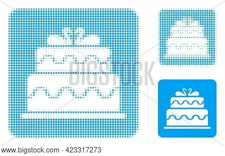 Marriage Cake Halftone Dotted Icon. Halftone Array Contains Circle Pixels. Vector Illustration Of Ma
