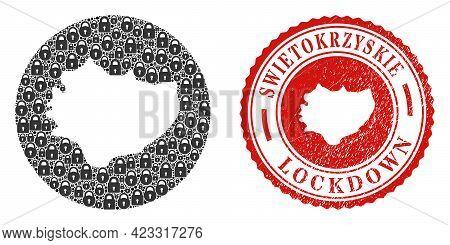 Vector Mosaic Swietokrzyskie Voivodeship Map Of Locks And Grunge Lockdown Seal Stamp. Mosaic Geograp