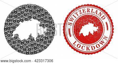 Vector Mosaic Switzerland Map Of Locks And Grunge Lockdown Seal Stamp. Mosaic Geographic Switzerland