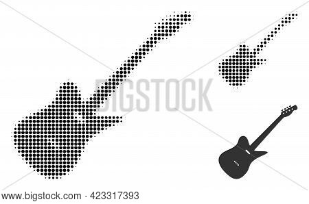 Electric Guitar Halftone Dotted Icon. Halftone Array Contains Circle Points. Vector Illustration Of