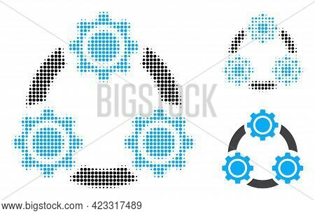 Gear Planetary Transmission Halftone Dotted Icon. Halftone Pattern Contains Circle Pixels. Vector Il