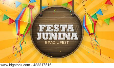 Festa Junina Background With Party Flags, Lantern. Brazil June Festival Background For Greeting Card