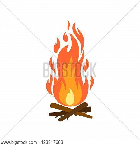 Vector Cartoon Flat Illustration Of Campfire With Burning Wood Isolated On White Background. Fire Wo