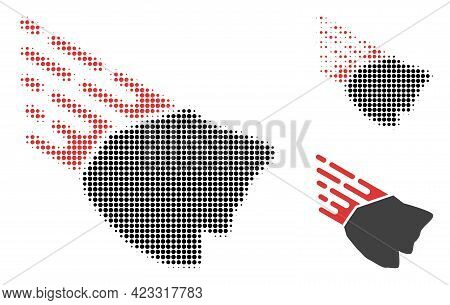 Falling Rock Stone Halftone Dotted Icon. Halftone Pattern Contains Circle Pixels. Vector Illustratio