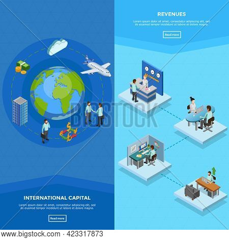 Vertical Business Banners With Clerks At Their Workplaces And International Capital Concept Isolated