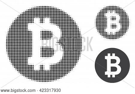 Bitcoin Coin Halftone Dotted Icon. Halftone Array Contains Circle Points. Vector Illustration Of Bit