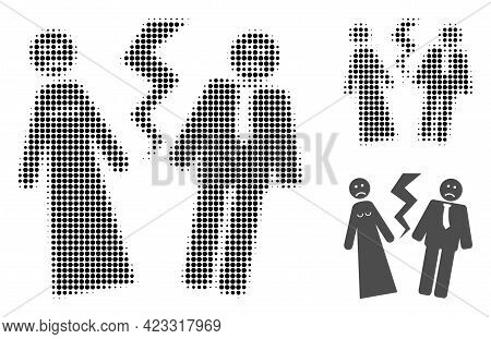 Broken Wedding Halftone Dotted Icon. Halftone Pattern Contains Round Dots. Vector Illustration Of Br