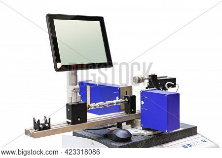 Machine Workpiece Or Automotive Part Shaft During Inspection Or Measuring Dimension By Precision Las