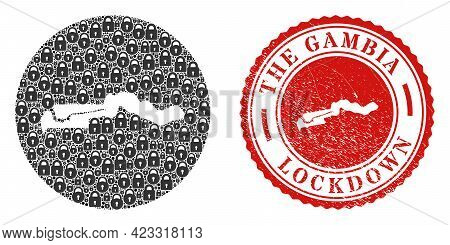Vector Collage The Gambia Map Of Locks And Grunge Lockdown Seal Stamp. Mosaic Geographic The Gambia