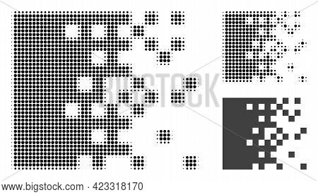 Dissolving Pixels Halftone Dotted Icon. Halftone Array Contains Round Pixels. Vector Illustration Of
