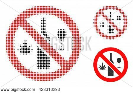 Forbidden Wine Drugs Halftone Dotted Icon. Halftone Array Contains Round Points. Vector Illustration