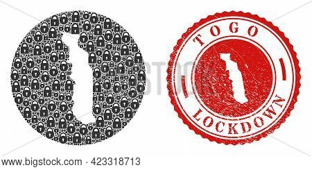 Vector Mosaic Togo Map Of Locks And Grunge Lockdown Stamp. Mosaic Geographic Togo Map Designed As Ca