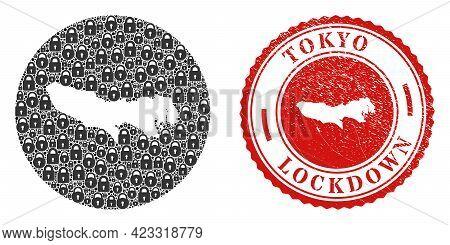 Vector Mosaic Tokyo Prefecture Map Of Locks And Grunge Lockdown Stamp. Mosaic Geographic Tokyo Prefe